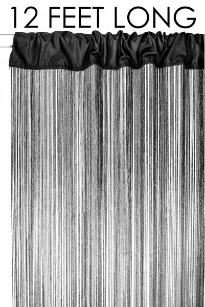 Nassau String Curtain Black EXTRA Long! 3 ft X 12 ft