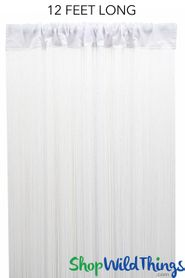 "String Curtain White 3 ft x 12 ft - Polyester & Cotton ""Nassau"""