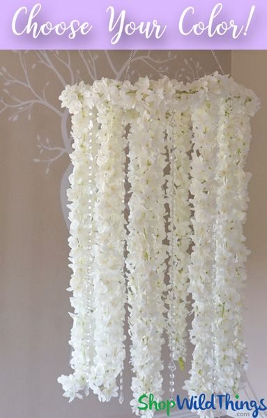 COMING SOON! Floral Chandelier with Crystal Strands - 2 Feet x 5.5 Feet - Arrives Finished
