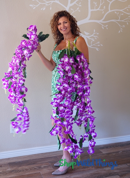 "COMING SOON! Orchid Floral Spray ""Mahina"" - Oversized & Dangling 52"" - Natural Look Purple & White"