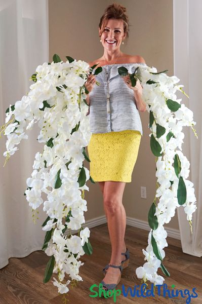 "Orchid Floral Spray ""Mahina"" - Oversized & Dangling 52"" - Natural Look White Orchids - Phalaenopsis"