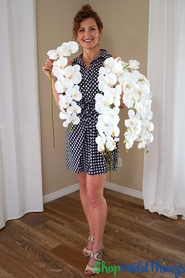 """Orchids - 50"""" White - Tall Floral Design Spray - Phala """"Real Touch"""" (5"""" Wide Blooms)"""