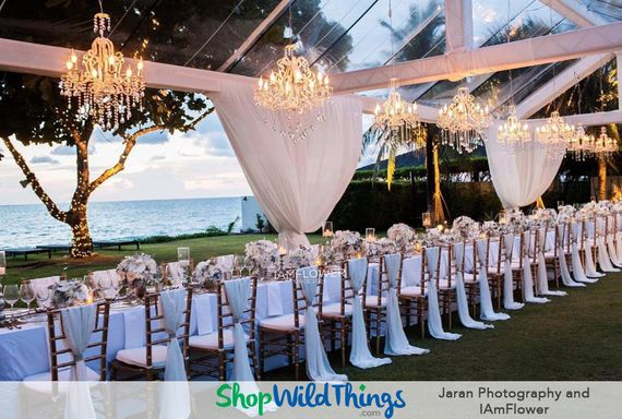 Outdoor Weddings Sparkle with Crystal Chandeliers as Focal Point DŽcor