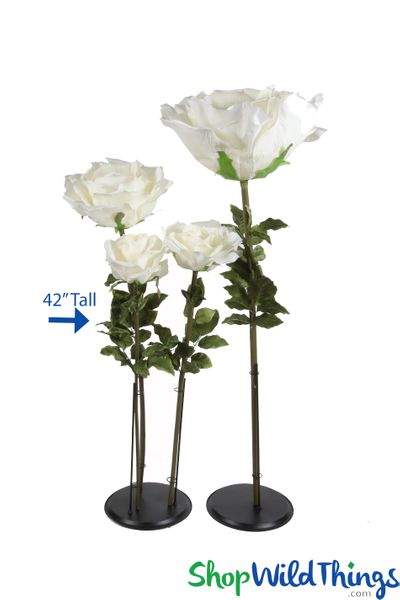 "Oversized Medium Silk Rose Bloom w/Removable Stem - Ivory - 42""H x 9""W"