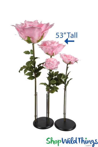 "Oversized XL Silk Rose Bloom w/Removable Stem - Pink - 53""H x 16""W"