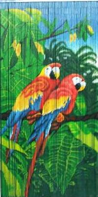 Parrots Painted Bamboo Beaded Curtain Tropical Decor