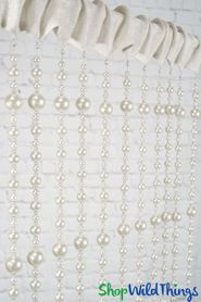 """Pearls Beaded Curtain """"Gabrielle"""" Fabric Top with Crystal Bottom Beads"""