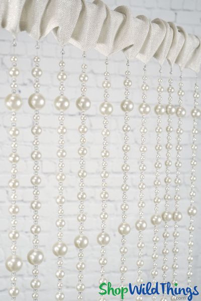 "Pearls Beaded Curtain ""Gabrielle"" Fabric Top with Crystal Bottom Beads"