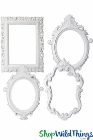 Photo Prop Large Picture Frames - White Plastic - Set of 4