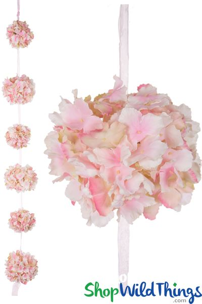 Flower Ball Garland  Hanging Silk Hydrangea Kissing Balls on Ribbon  4 1/2' - Pink