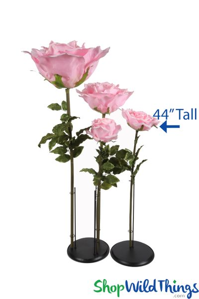 "Oversized Large Silk Rose Bloom w/Removable Stem - Pink - 44""H x 14""W"