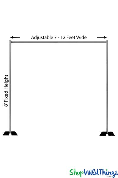 Pipe & Drape Backdrop Hardware Kit - Professional Grade - 8' Tall x 7'-12' Wide