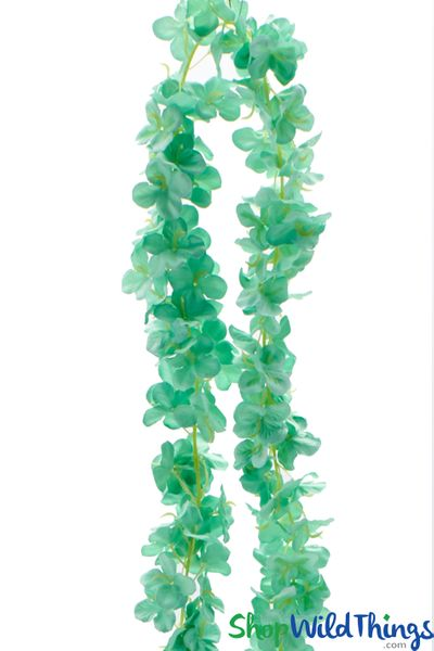 "Plumeria Frangipani Silk Flower Garland - Mint - 80"" Long Expandable! BUY MORE, SAVE MORE!"