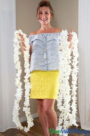 "Plumeria Frangipani Silk Flower Garland Off-White - 80"" Long Expandable! BUY MORE, SAVE MORE!"