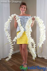 Plumeria Frangipani Silk Flower Garland - Cream - 7' Long - Bendable Wire