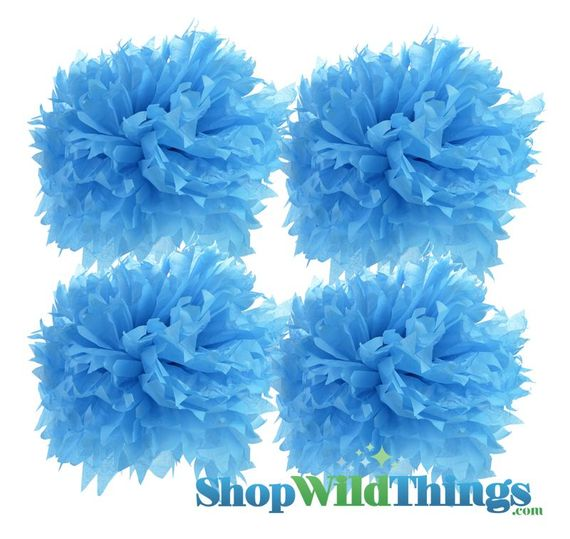 "CLEARANCE! Pom Poms 12"" Tissue Paper - Turquoise - Set of 4"