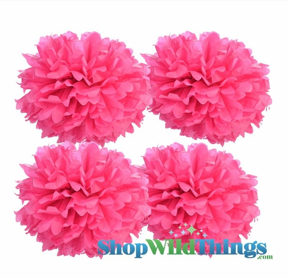 "CLEARANCE! Pom Poms 16"" Tissue Paper - Fuchsia - Set of 4"