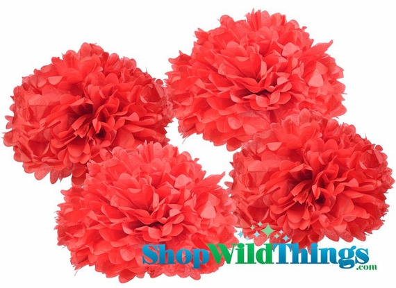"""CLEARANCE! Pom Poms 16"""" Tissue Paper  - Red - Set of 4"""