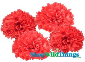 "CLEARANCE! Pom Poms 16"" Tissue Paper  - Red - Set of 4"