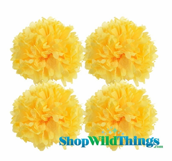 "COMING SOON! CLEARANCE! Pom Poms 16"" Tissue Paper - Yellow - Set of 4"