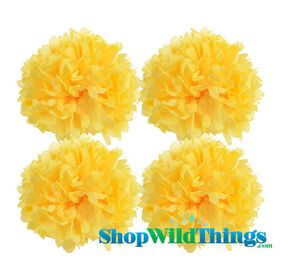 "CLEARANCE! Pom Poms 16"" Tissue Paper - Yellow - Set of 4"