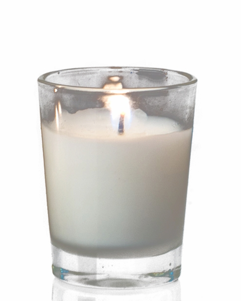 "Poured Glass Votive Candles 1.5x2"" 12 pcs - Burn Time 4.5-5.5 Hours - Unscented White"