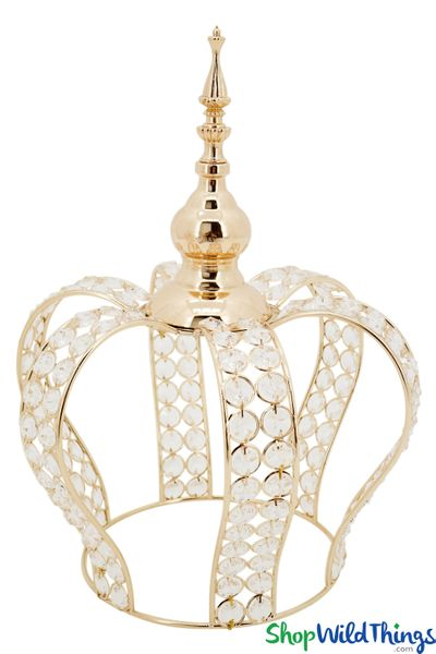 "Prestige Real Crystal Beaded Crown - 15""H x 11""W  - Gold"