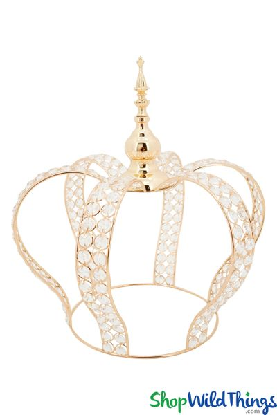 "COMING SOON! Prestige Real Crystal Beaded Crown - 16""H x 15""W - Gold"