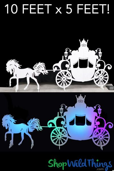 Horse Drawn Carriage Backdrop 5'H Cinderella Princess Prop - White - Stores Flat