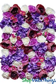 "Flower Wall 19"" x 26"" Premium Silk Floral Mix - Purples & Pinks"