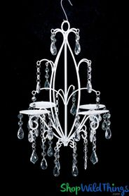 """Rachelle""  Floral & Candle Chandelier 18"" - Pure White Frame"
