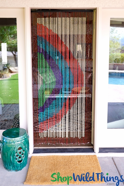 "Wooden Bead Curtain - ""Rainbow"" - 35"" x 6 1/2' - 60 Strands (Extra Coverage)"