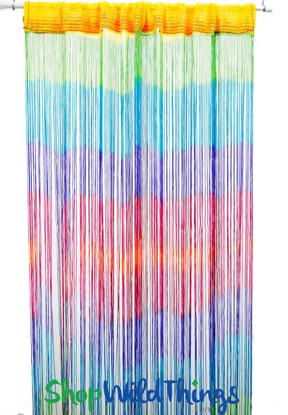 Coming Soon - String Curtains - Tie Dye Rainbow w/Tension Rod - 6.3' Long