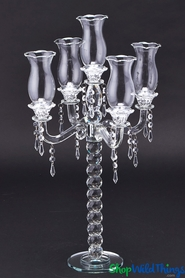 "Real Crystal 5 Arm Candelabra ""Muret"" - 26"" Tall - BUY MORE, SAVE MORE!"