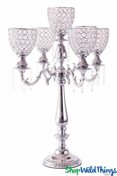 "Real Crystal Beaded 5 Arm Silver ""Prestige"" Candelabra - 29"" Tall"