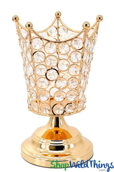 "COMING SOON! Real Crystal Beaded Candle Holder - ""Prestige"" Crown - 8 1/2"" Gold"