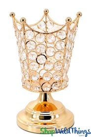 "Real Crystal Beaded Candle Holder - ""Prestige"" Crown - 8 1/2"" Gold"