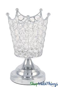 "Real Crystal Beaded Candle Holder - ""Prestige"" Crown - 8 1/2"" Silver"