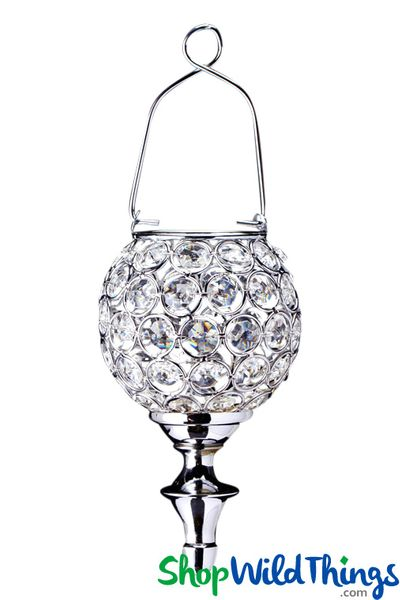 "Real Crystal Beaded Hanging Candle Holder - ""Prestige"" Silver 12"" Long"