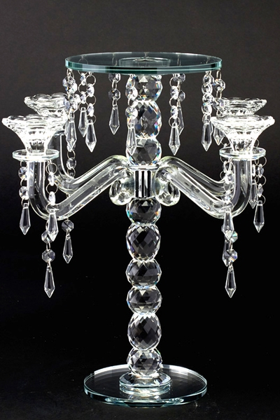 "Real Crystal Candelabra and Centerpiece Riser 15"" Tall"