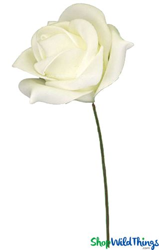 "Real Feel Foam Rose - Ivory - 6"" Flower, 10"" Stem"