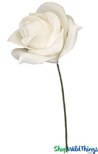 "Real Feel Foam Rose - White - 7"" Flower, 15"" Stem"
