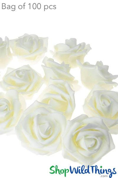 "Real Feel Foam Roses 2.5"" - Ivory - 100Pcs (Floating!)"