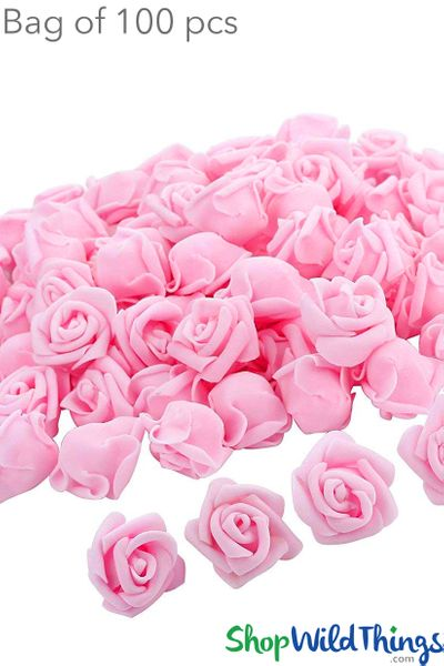 "Real Feel Foam Roses 2.5"" - Pink - 100Pcs (Floating!)"