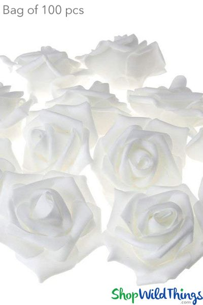 "Real Feel Foam Roses 2.5"" - Soft White - 100Pcs (Floating!)"