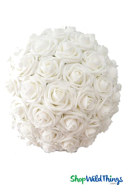 "Real Feel Flower Ball - Foam Rose - Pomander Kissing Ball - 8 3/4"" White"