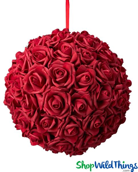 "Real Feel Flower Ball - Foam Rose - Pomander Kissing Ball - 11 1/2"" Red - BUY MORE, SAVE MORE!"