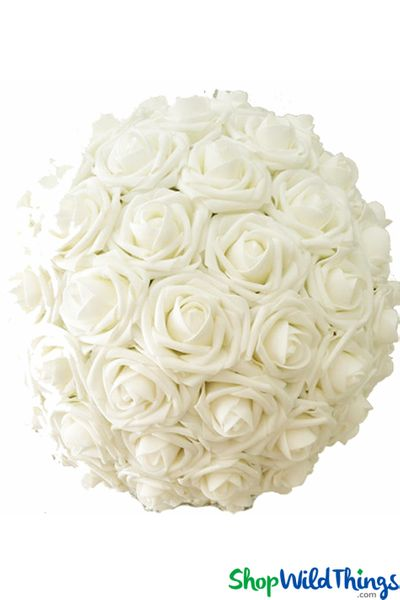 "Real Feel Flower Ball - Foam Rose - Pomander Kissing Ball - 12"" Ivory - BUY MORE, SAVE MORE!"
