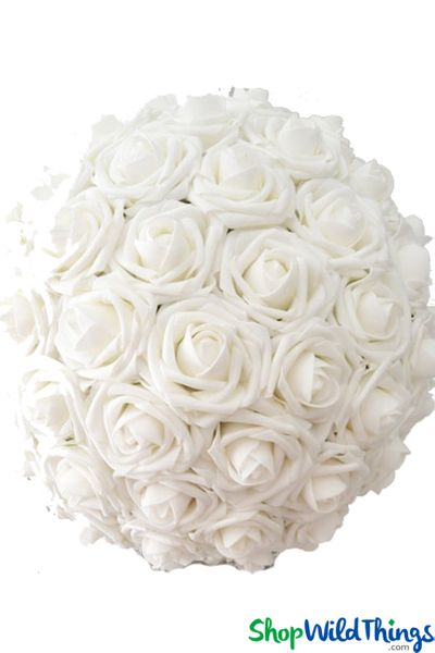 "Real Feel Flower Ball - Foam Rose - Pomander Kissing Ball - 12"" White - BUY MORE, SAVE MORE!"