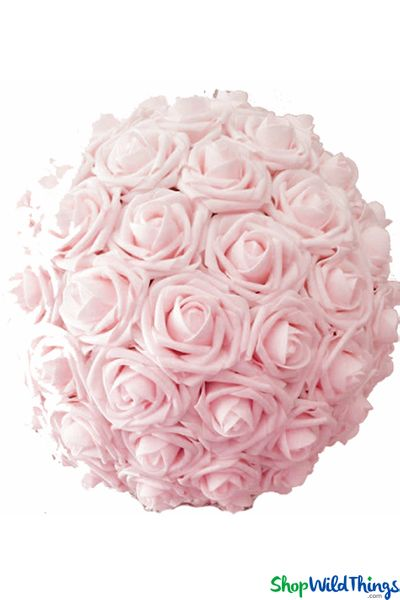 "Real Feel Flower Ball - Foam Rose - Pomander Kissing Ball - 13"" Baby Pink - BUY MORE, SAVE MORE!"